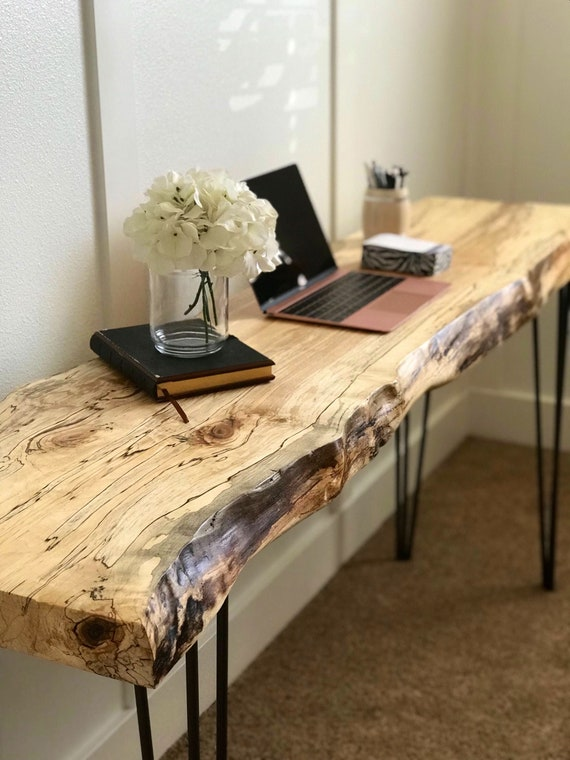 Live Edge Desk Sofa Table - Best Wood To Make A Live Edge Table