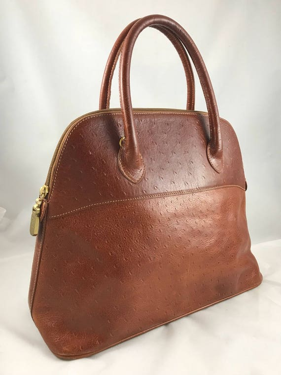 Authentic Vintage Furla Handbag Ostrich Leather