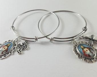 Sacred Heart Medal & Silver Cross Charm Bracelet (Set of 1)