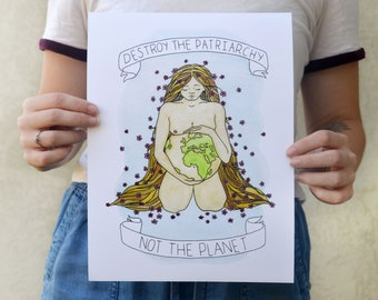 Not the Planet Watercolor Painting Ink Drawing Giclée Art Print