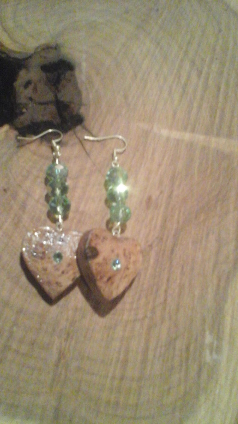 Pair of Wood Heart Earrings with light green crystal accents image 0