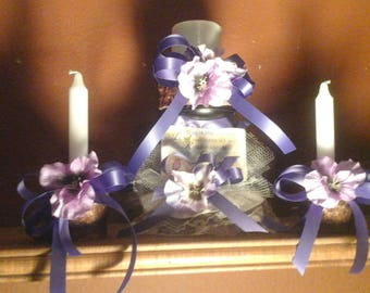Custom Handmade Desert Willow Religious Purple and Lavender Pansy Candle Set of 3