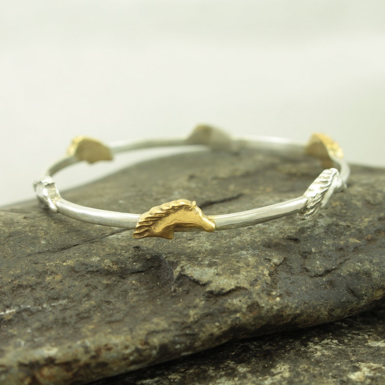 925 Sterling Silver Horse Race Equestrian Gold Plated Bracelet image 0