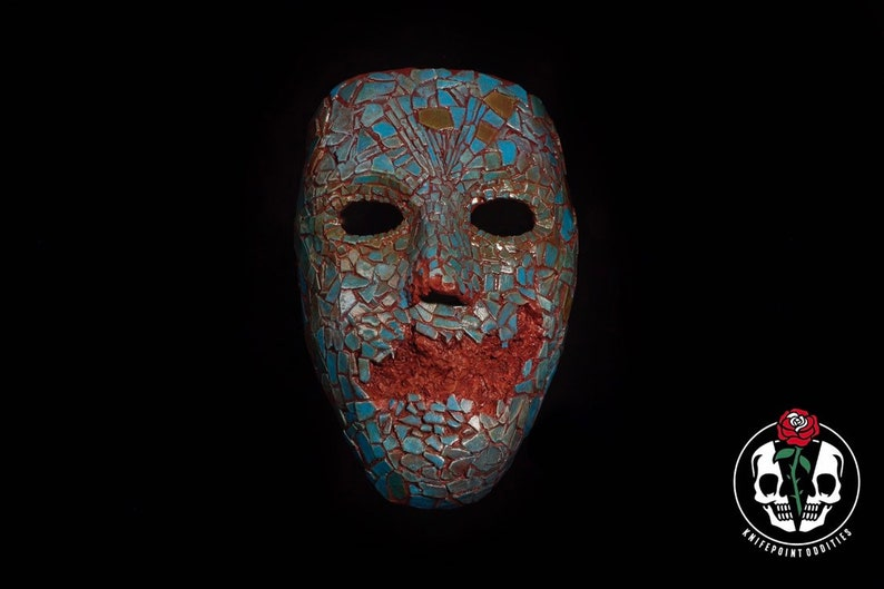 The Serpent Idol mask {wearable faux turquoise Quetzalcoatl museum display}