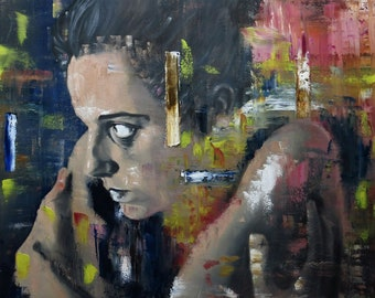 Oil on canvas painting. Colorful, figurative and large painting. Portrait of  woman . Horizontal painting,  contemporary art