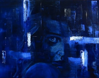 Oil on canvas painting. Dark colored, figurative and large painting. Abstract portrait . Original painting, blue