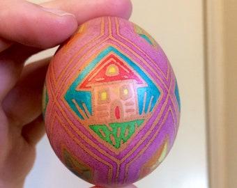 Vinegar Etched Decorated Egg Pysanka