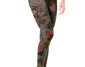 9274bb534f07b Victorian Romance steampunk pop art buttery soft brushed leggings, vintage,  antique, jewelry, floral