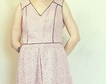 Pink Tweed Dress with Piping