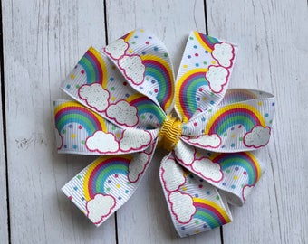 Rainbow pinwheel bow