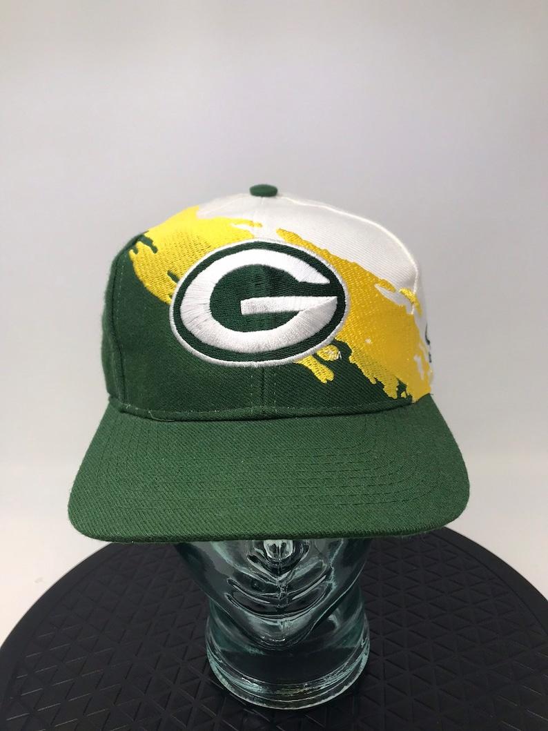 1e57bca854e91 Vintage Green Bay Packers splash hat snapback 90s logo