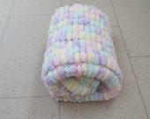Marshmallow pompom baby blanket. Other colours available. Handknitted - small