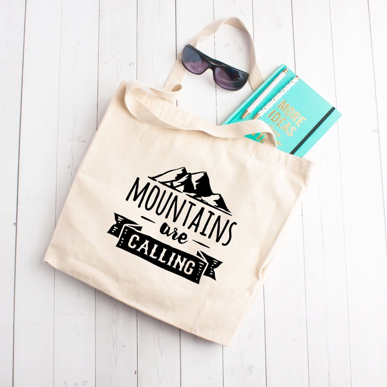 Gift for Best Friend Adventure Outdoors Hiker Hiking Mountain Climbing Gift Mountains are Calling Large Tote Bag