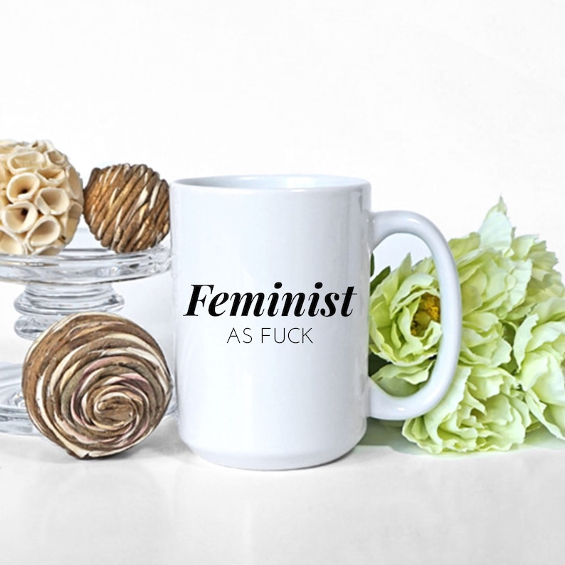The Feminist as Fuck Mug travel product recommended by Jessie Swinger on Pretty Progressive.