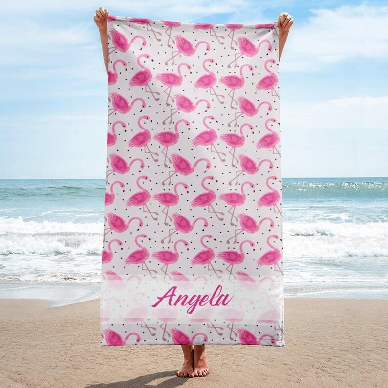 8136ae7abbf Flamingos Personalized Beach Towel Custom Bridesmaid Gift | Etsy