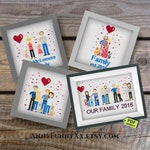 Custom family portrait Cross Stitch Embroidery PDF Pattern Download, Personalized Family Portrait,  family cross stitch, embroidery pattern