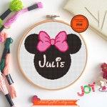 Personalized Baby birth cross stitch Pattern PDF,  Minnie Cross stitch, name Cross stitch, Custom embroidery patterns, needlepoint
