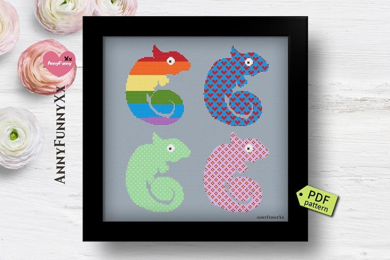 Chameleon cross stitch pattern