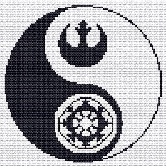 Star Wars Cross Stitch Pattern Pdf Yin Yang Star Wars Rebel Etsy