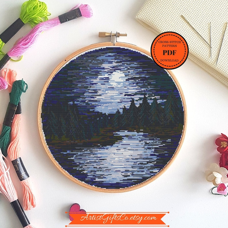 Nature cross stitch pattern PDF Needlepoint Design Digital Download PDF  Landscape Xstitch Embroidery Stitching moon river Cross Stitch