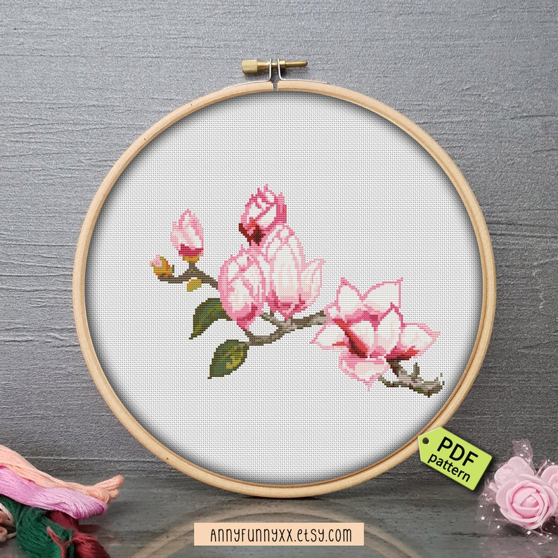 Magnolia Cross Stitch Pattern