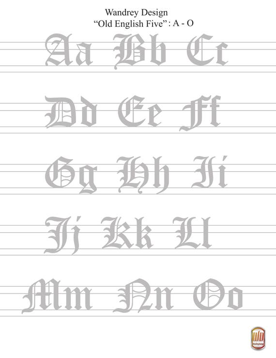 graphic regarding Printable Old English Letters identified as Printable Higher And Decreased Circumstance Outdated English Calligraphy Simple Worksheet A - Z (No Fading Letters)