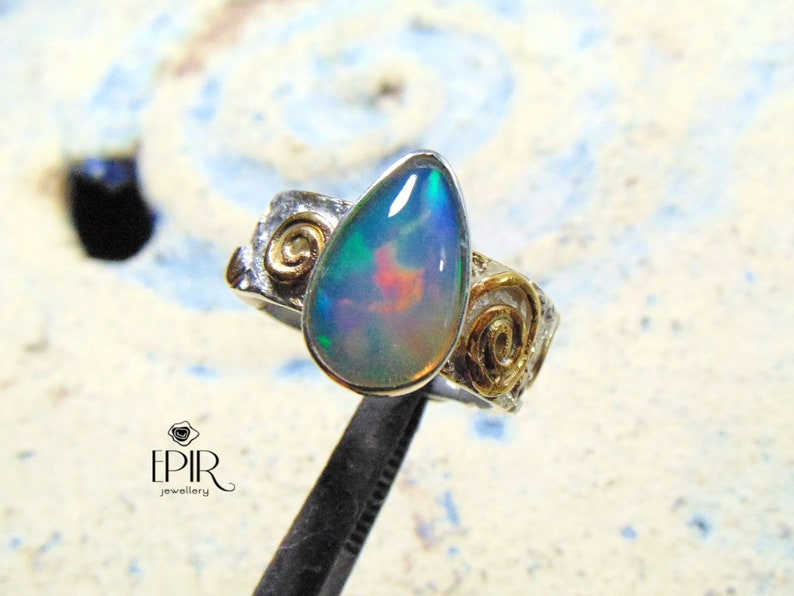 73e30e605bdaa Opal Ring, Sterling Silver Opal Ring, Ethiopian Solid Opals, Statement  Ring, Hammered Ring, Blue Opal, Stacking Ring, Opals Jewelry, Gems,