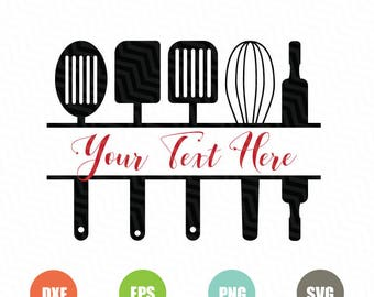 Split Kitchen SVG, Kitchen Monogram Svg, Kitchen SVG, Cuttable Design,Pvg,Dxf,Png, Silhouette Studio & Cricut_Instant Download