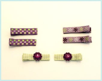 Purple and Lime Hair Clip Set of 6
