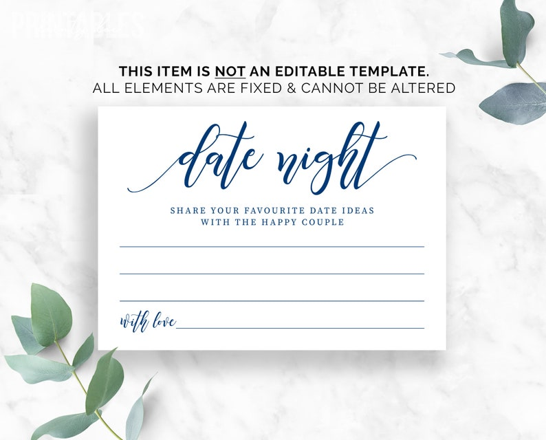 UKAUCA Spelling Date Night Idea Card |Wedding| Bridal Shower Pdf Instant Download Navy Date Night Cards Date Night Ideas Printable