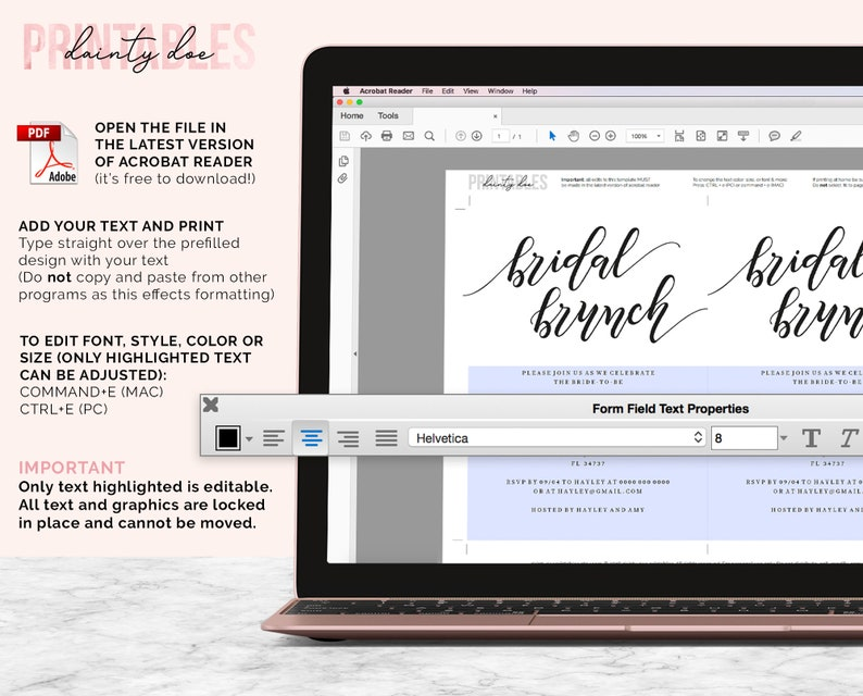 PDF Instant Download Editable Invitation Template Minimalist Invite DIY Bridal Shower Invite Printable Bridal Brunch Invitation