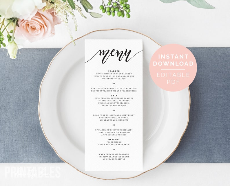 Menu Editable Template Printable Dinner Menu PDF Instant Download Printable Wedding Menu Wedding Dinner Menu Wedding Menu Cards
