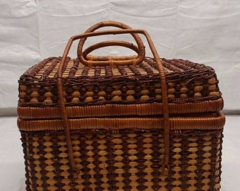 Vintage Wicker Picnic Basket Sewing Basket