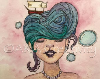 Mermaid Hair Don't Care(painting)