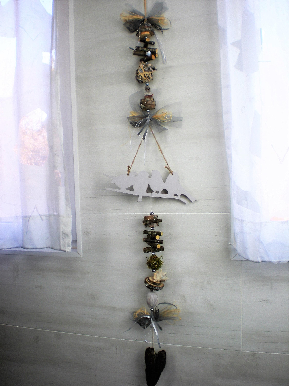 Türschmuck Holz Girlande Wandbehang 3D Natur Dekor Grau Vintage Shabby Chic  In Outdoor Eco Mobile 132x27cm DEL08