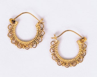 Boucles d/'oreille laiton brass earrings tribal hoop 29-470
