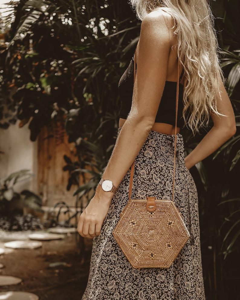 Straw Bag Bali Round Rattan Bag Hexagon Boho Wicker Bag image 0