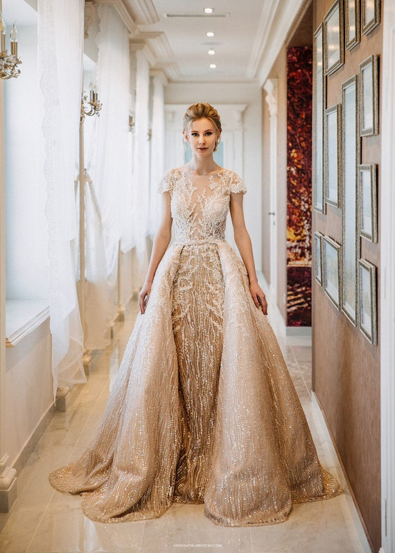 Wedding Dress Bridal Gown Detachable Skirt Dress Handmade | Etsy
