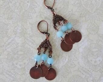Antique Copper Dangle Earrings, Blue Bead Earrings, Boho, Rustic, Copper Chandelier Earrings, Copper Lever Back Earrings