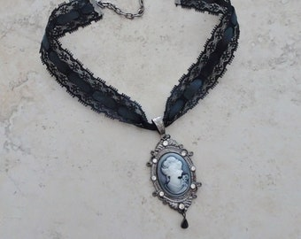 Gothic Black White LACE CAMEO CHOKER Necklace Victorian Style Antique Silver C09