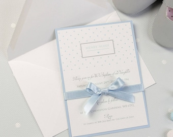 Baby Boy Polka Dot Baptism bespoke blue Invitation with Ribbon tied in a bow + Envelopes + Printing