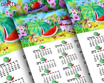 Fairy calendar Printable 12 month calendar 2018 Calendar poster 2018 Monthly Calendar Funny print Calendar download Watercolor calendar wall
