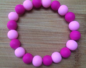 Pink Beaded Stretchy Bracelet