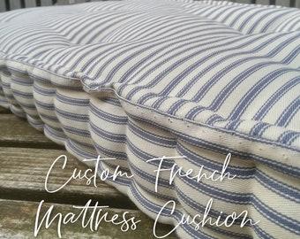Tufted cotton bench cushion // Custom stripe window seat // French Mattress  // Box cushion // Daybed cushion // Floor pillow