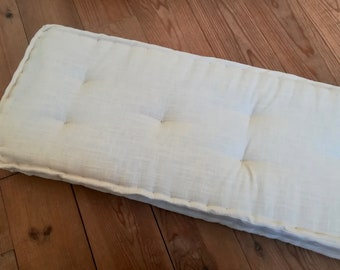 Tufted Linen Bench Cushion Custom Floor Pillow Stripe Window Etsy