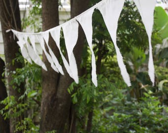 50 yard Cotton bunting pennant flags prayer flag muslin fabric wedding flags event decorations 8 x 12 inch pennant size ivory satin ribbon