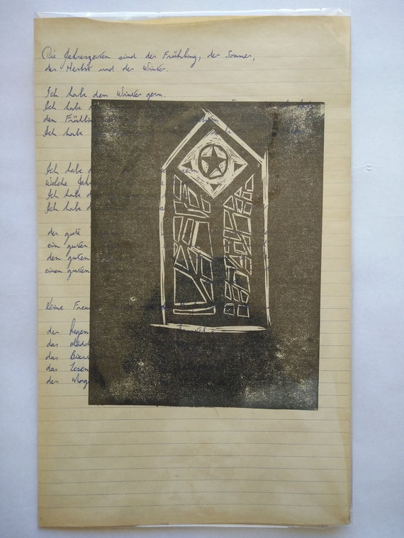 unique stain glass Linoprint print handwriting words Window and words printmaking black linocut hand printed one off notepaper
