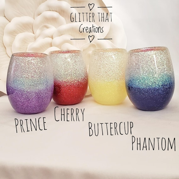 personalize for free and free shipping glitter sealed Wine glass top rack dishwasher safe