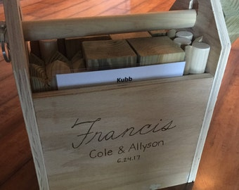 Kubb with Personalized Carrying Case