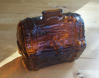 Vintage Glass Treasure Chest Bank - 70s 1970s Seventies Amber Glass - 60s 70s Housewares - Piggy Bank - Pirate Collectible